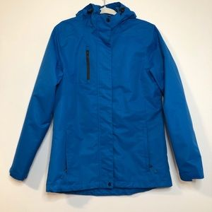 Port Authority blue rain jacket with hood